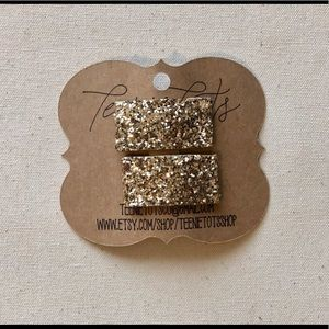 Gold Glitter Snap Clips